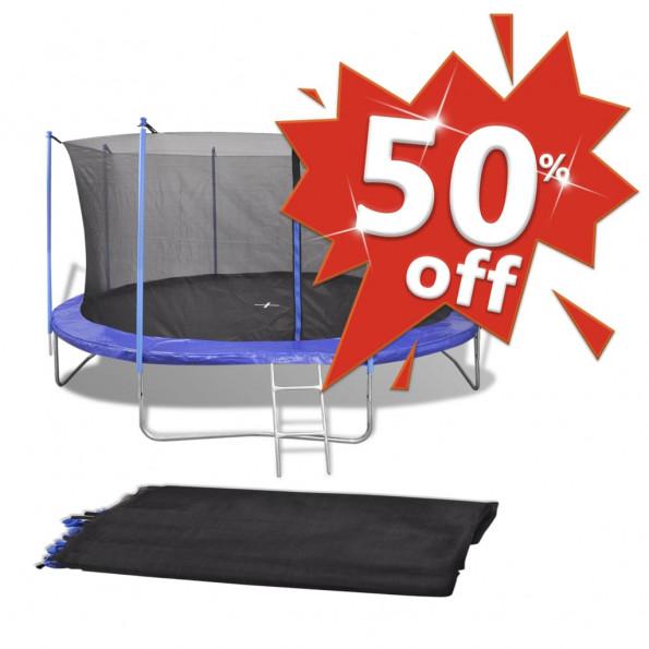 Sikkerhedsnet sort PE til 4,57 m rund trampolin