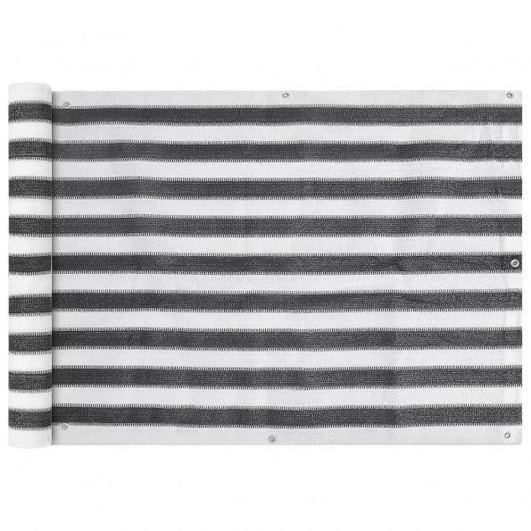 Balkonafskærmning HDPE 75x600 cm antracitgrå/hvid