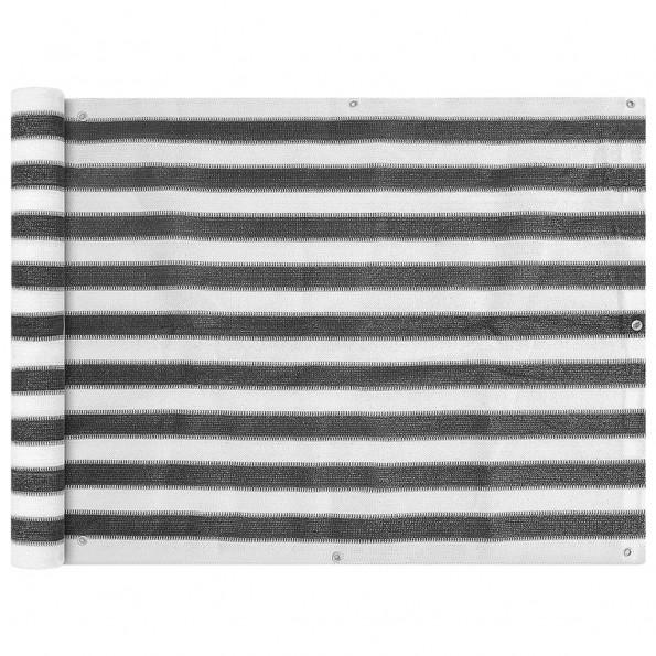 Balkonafskærmning HDPE 90 x 400 cm antracitgrå / hvid