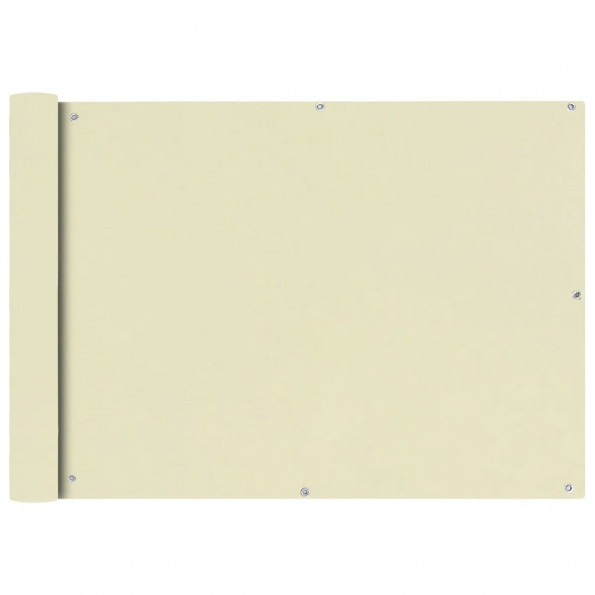 Balkonafskærmning 75x400 cm Oxford-stof cremefarvet