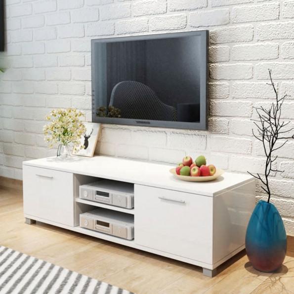 TV-bord i højglanshvid 120x40,3x34,7 cm