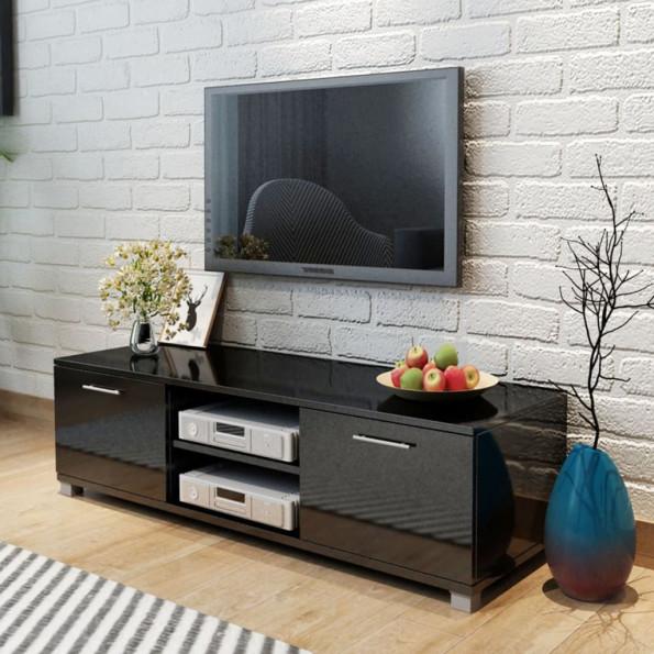TV-bord i højglanssort 120x40,3x34,7 cm