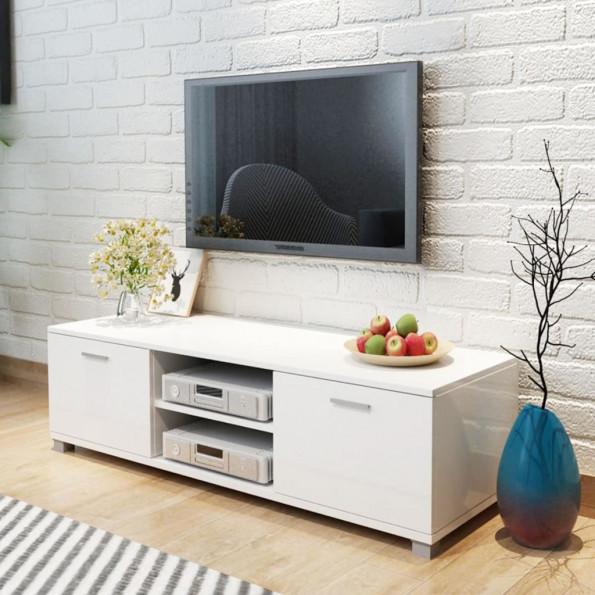 TV-bord 140 x 40,3 x 34,7 cm højglanshvid
