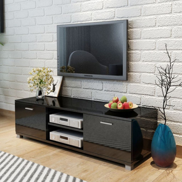Tv-bord 140 x 40,3 x 34,7 cm sort højglans