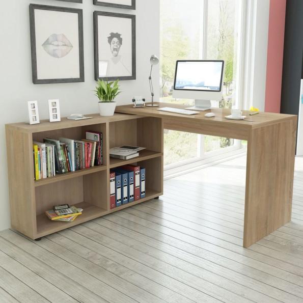 Hjørneskrivebord 4 hylder egetræ