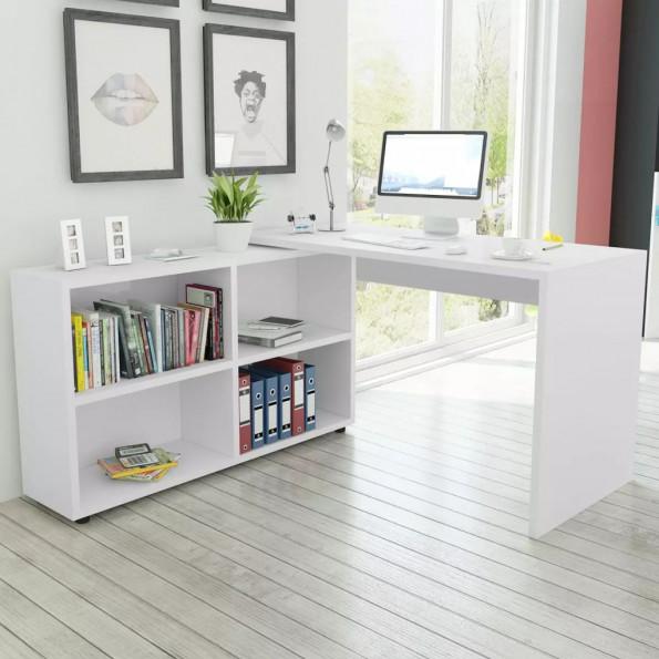 Hjørneskrivebord 4 hylder hvid