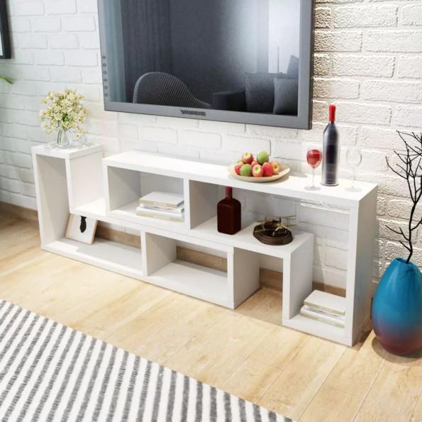 TV-bord dobbelt L-formet hvid