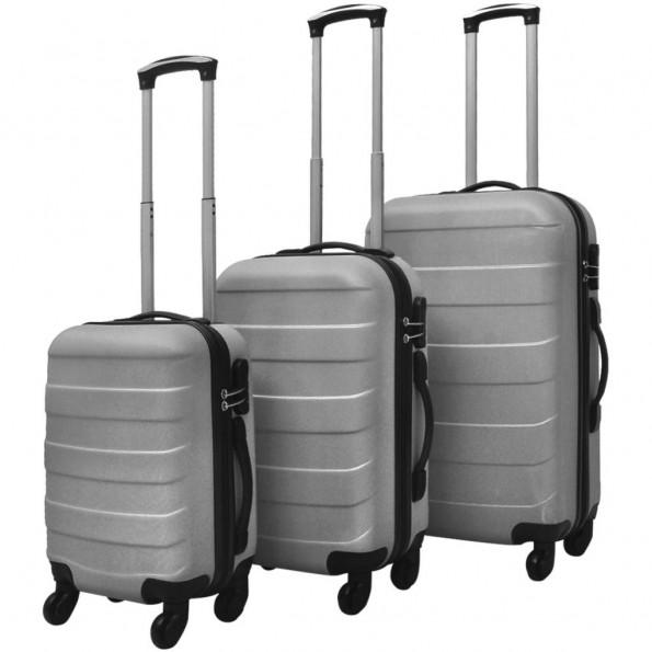 Kuffertsæt i 3 dele hardcase sølv