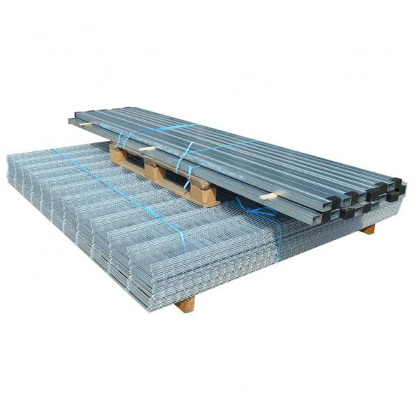 2D Havehegnspaneler & Pæle 2008x1830 mm 10 m Sølv