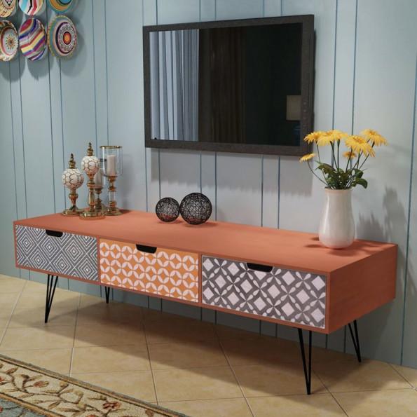 TV-bord med tre skuffer 120x40x36 cm brun