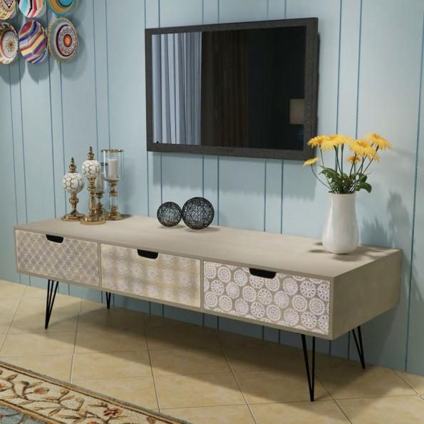 TV-bord med tre skuffer 120x40x36 cm grå