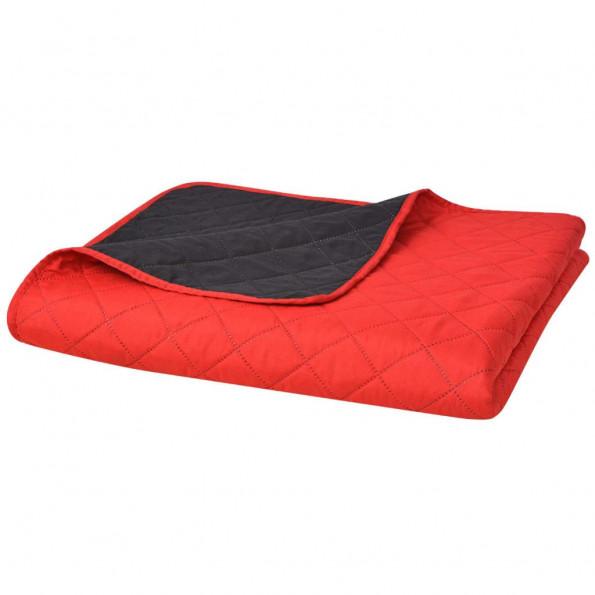Dobbeltsidet polstret sengetæppe rød og sort 220 x 240 cm