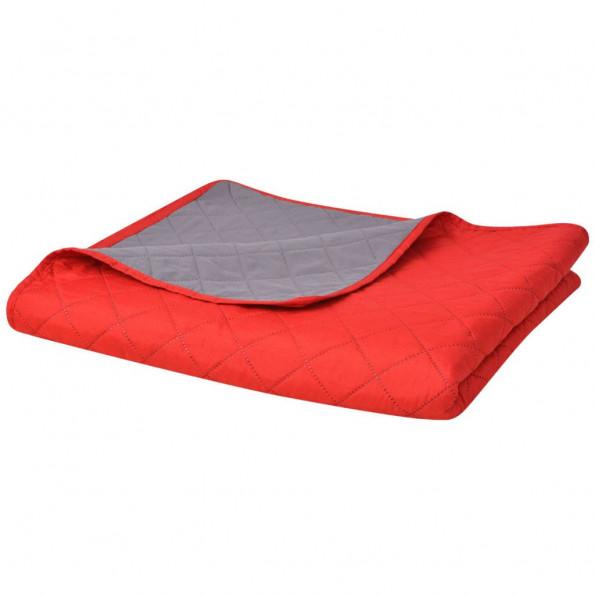 Dobbeltsidet quiltet sengetæppe rød og grå 220x240 cm
