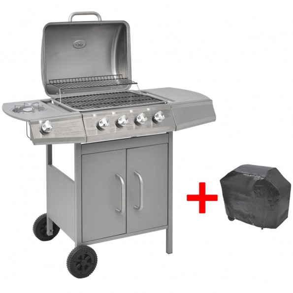 Gasgrill 4 + 1 grillzoner sølvfarvet