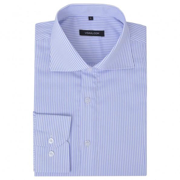 Businessherreskjorte stribet hvid og lyseblå str. S