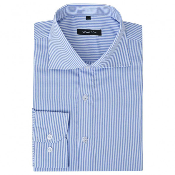 Business-skjorte stribet hvid og blå str. S