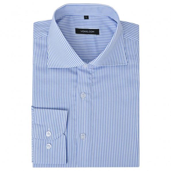 Businessherreskjorte stribet hvid og blå str. M