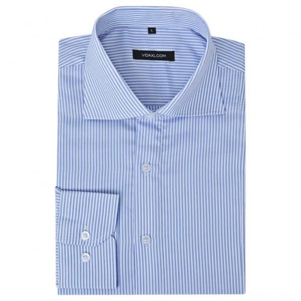 Businessherreskjorte stribet hvid og blå str. XL