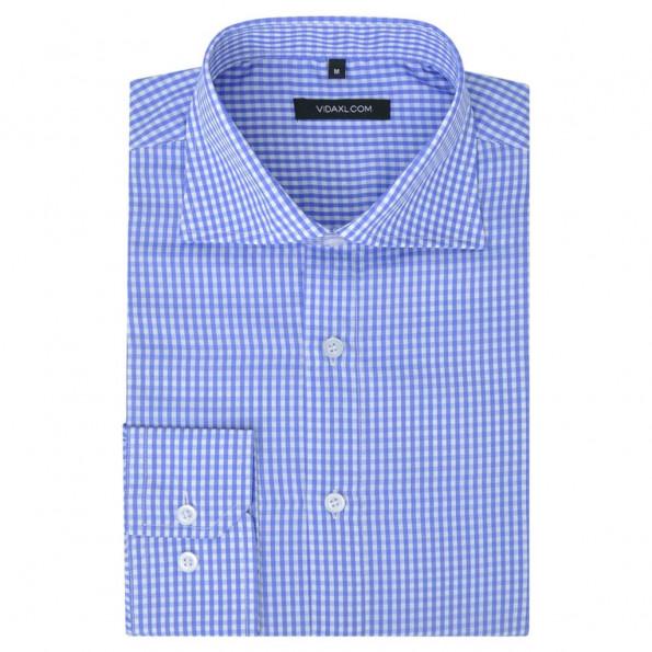 Businessherreskjorte ternet hvid og lyseblå str. S