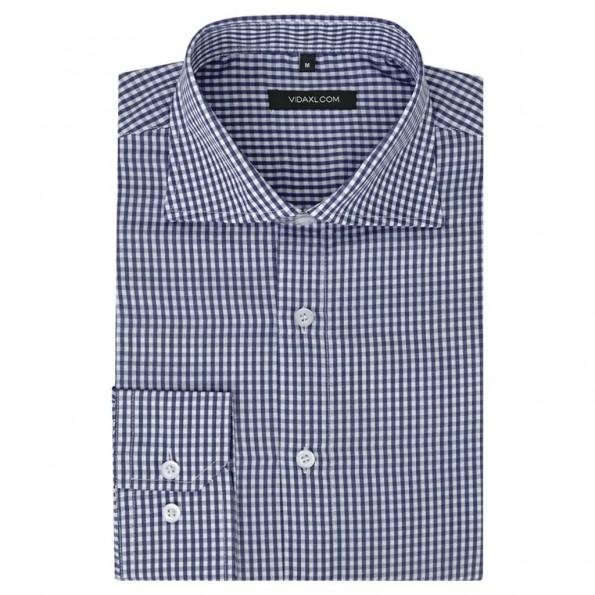 Businessherreskjorte ternet hvid og mørkeblå str. S