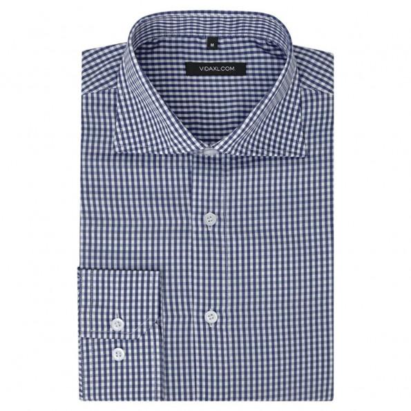 Businessherreskjorte ternet hvid og mørkeblå str. XL
