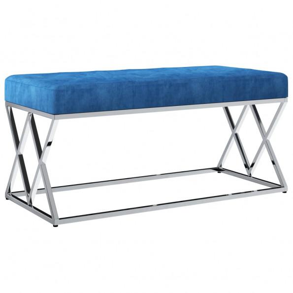 Bænk 97 cm fløjlsstof rustfrit stål blå