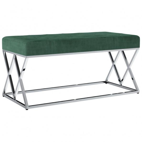 Bænk 97 cm fløjlsstof rustfrit stål grøn
