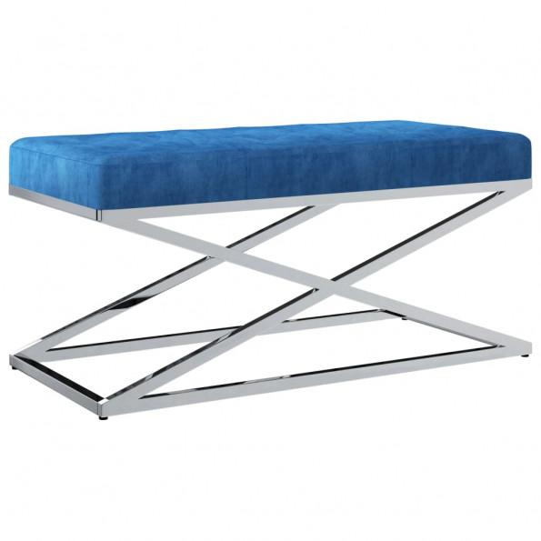 Bænk 97 cm fløjl stof rustfrit stål blå