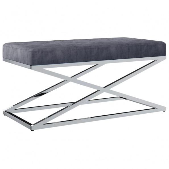 Bænk 97 cm fløjl stof rustfrit stål grå
