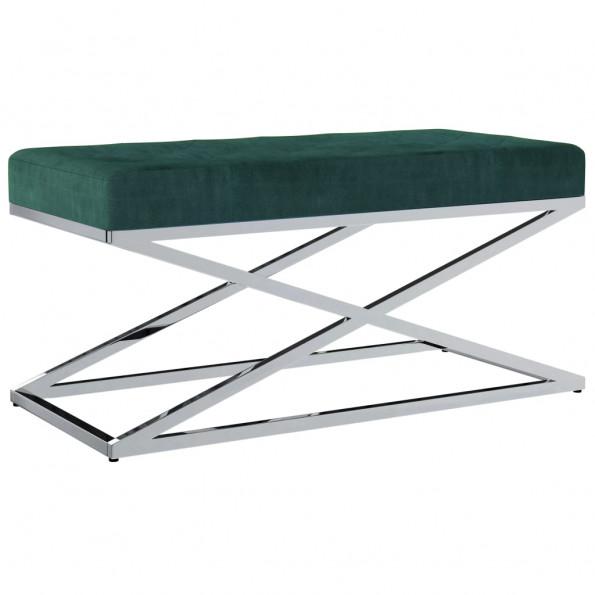 Bænk 97 cm fløjl stof rustfrit stål grøn