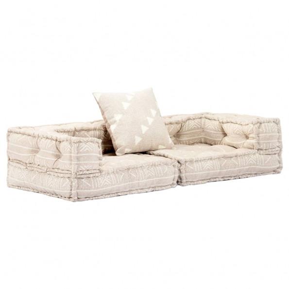 2-personers sofa med armlæn modulær beige stof