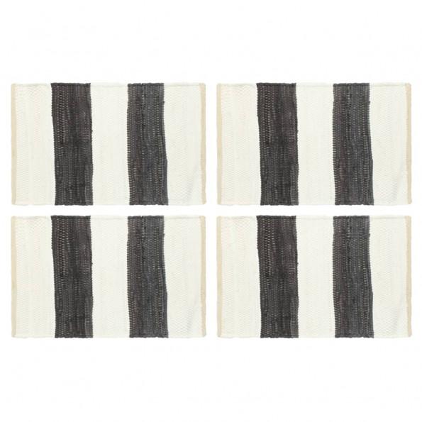 Dækkeservietter 4 stk. 30 x 45 cm chindi stribet grå og hvid