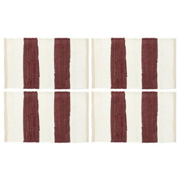 Dækkeservietter 4 stk. 30 x 45 cm chindi stribet bordeaux/hvid