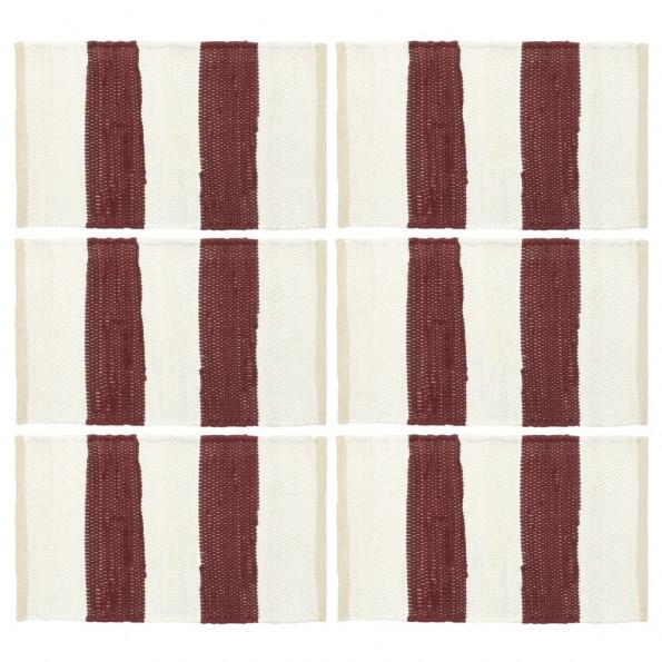 Dækkeservietter 6 stk. 30 x 45 cm chindi stribet bordeaux/hvid