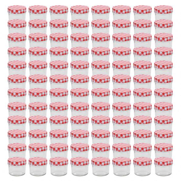 96 stk. syltetøjsglas med hvide og røde låg 110 ml