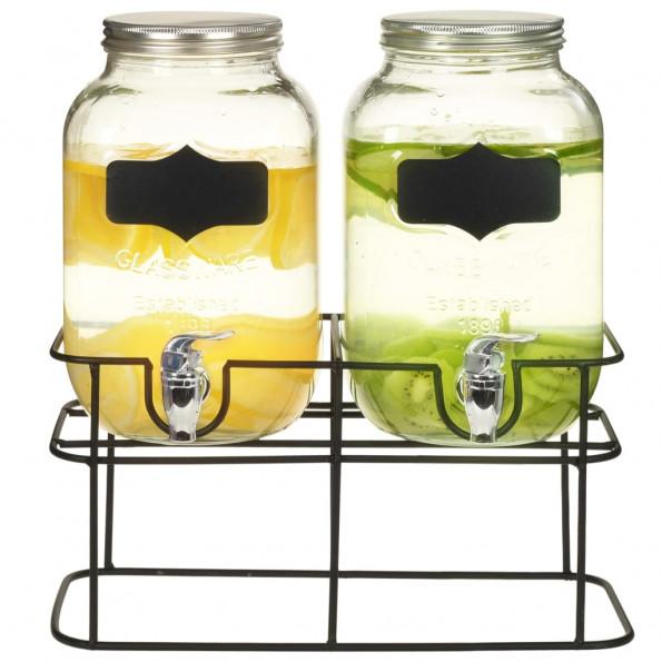 Drikkevaredispensersæt 2 stk. med stativ 2 x 4 l glas