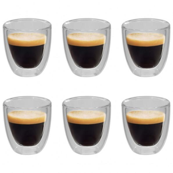 Dobbeltvægget termoglas til espresso 6 stk. 80 ml