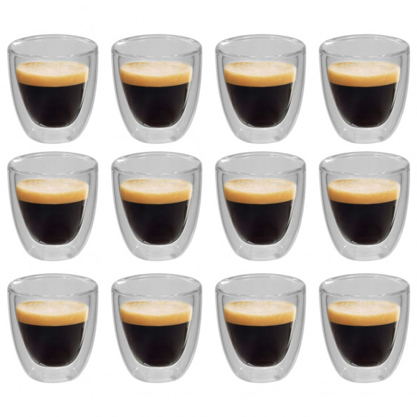 Dobbeltvægget termoglas til espresso 12 stk. 80 ml