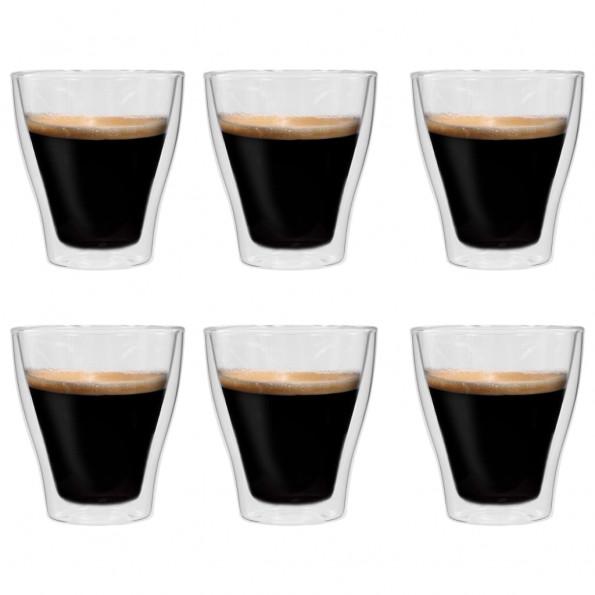 Dobbeltvægget termoglas til espresso 6 stk. 280 ml