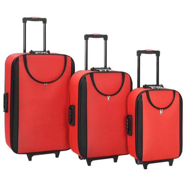 Kufferter 3 stk. blødt oxfordstof rød
