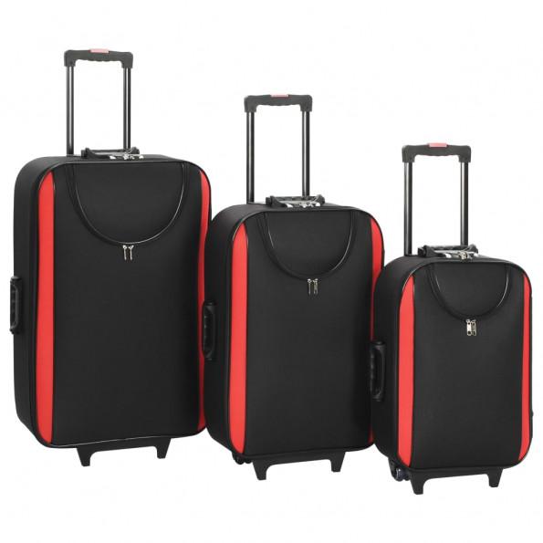 Kufferter 3 stk. blødt oxfordstof sort