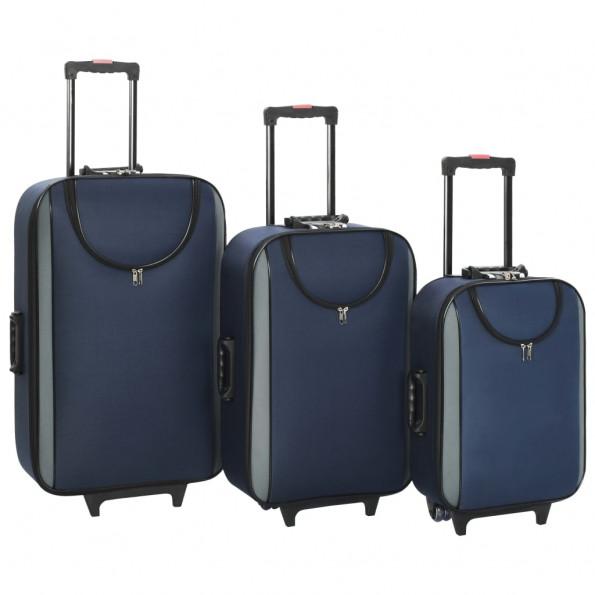 Kufferter 3 stk. blødt oxfordstof marineblå