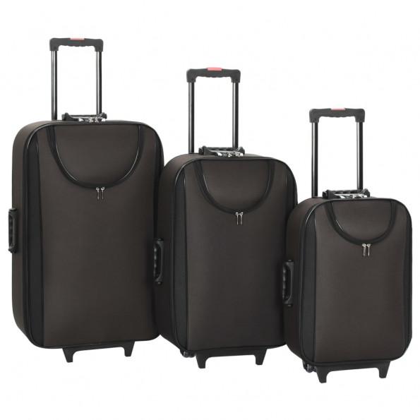 Kufferter 3 stk. blødt oxfordstof brun