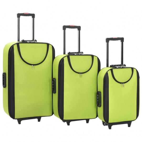 Kufferter 3 stk. blødt oxfordstof grøn