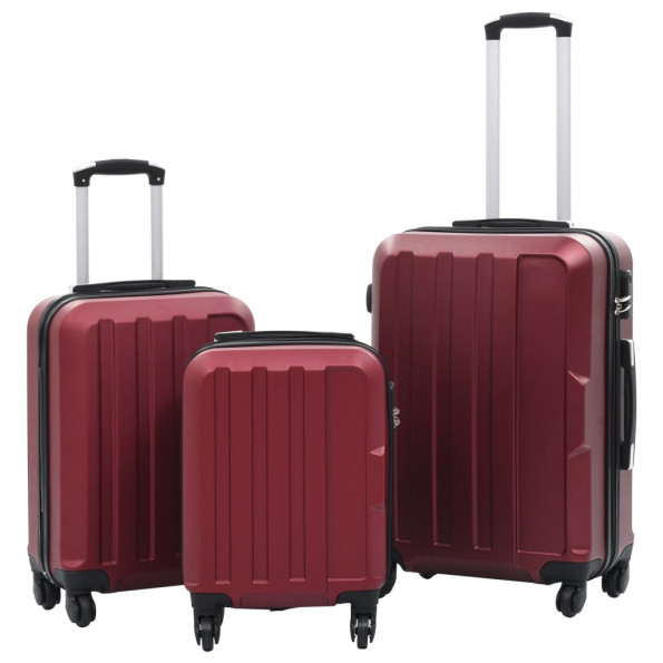 Hardcase-kuffertsæt 3 stk. ABS rødvinsfarvet