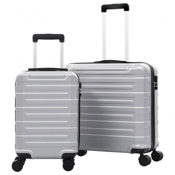 Kuffertsæt i 2 dele hardcase ABS sølvfarvet