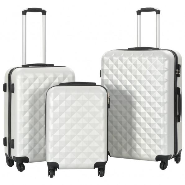 Kuffertsæt i 3 dele hardcase ABS sølvfarvet