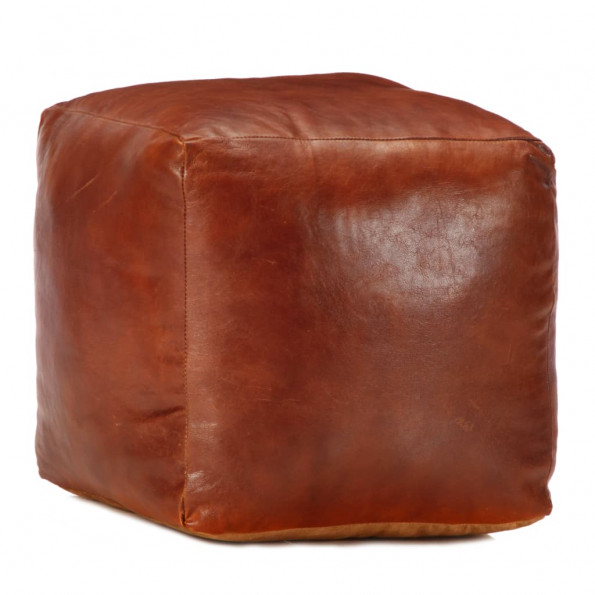Puf 40 x 40 x 40 cm ægte gedeskind gyldenbrun