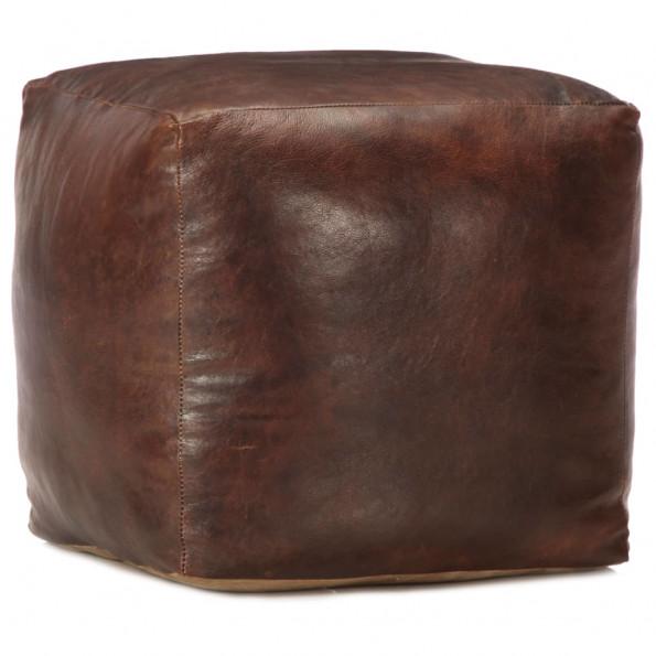 Puf 40 x 40 x 40 cm ægte gedeskind mørkebrun
