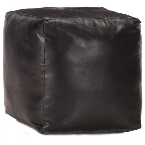 Puf 40 x 40 x 40 cm ægte gedeskind sort